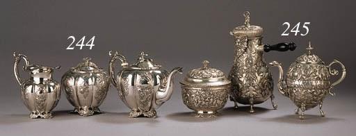 A Dutch silver teapot, milkjug