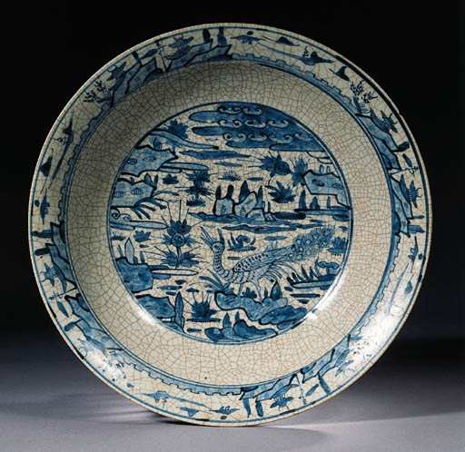 A blue and white Swatow dish a