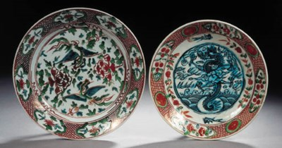Two polychrome Swatow dishes