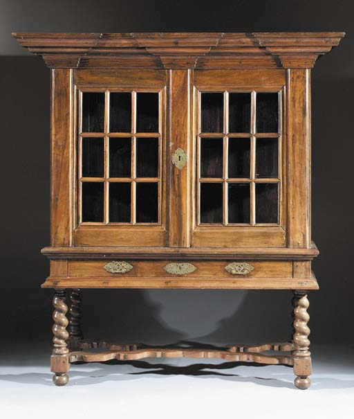 A Dutch colonial rosewood display cabinet-on-stand
