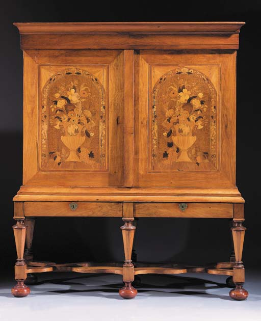 A Dutch walnut, burr-maple and marquetry cabinet-on-stand