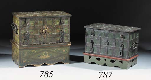 A German iron black and green-painted armada chest