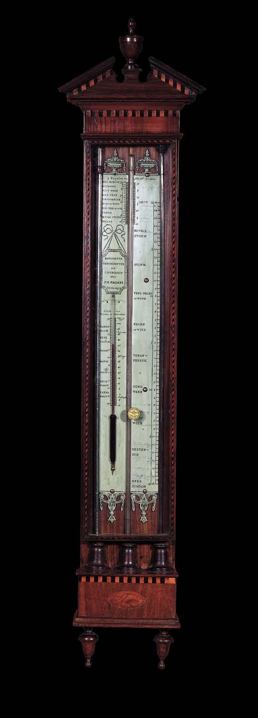 A Dutch mahogany cistern barometer