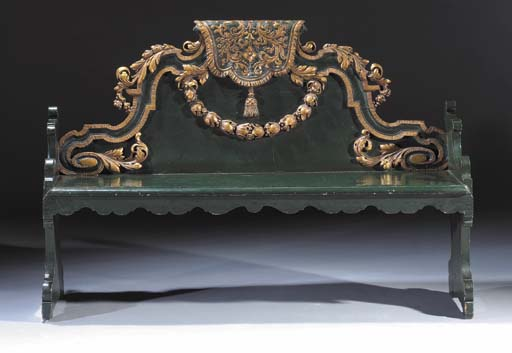A Dutch parcel-gilt and green-painted hallbench
