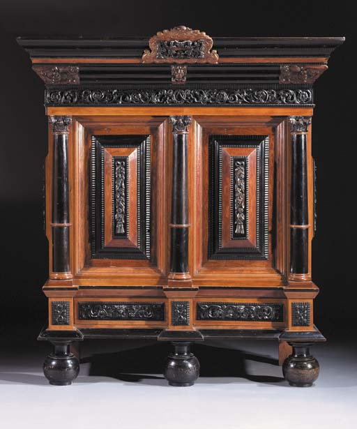 A Dutch Colonial rosewood and ebony cabinet