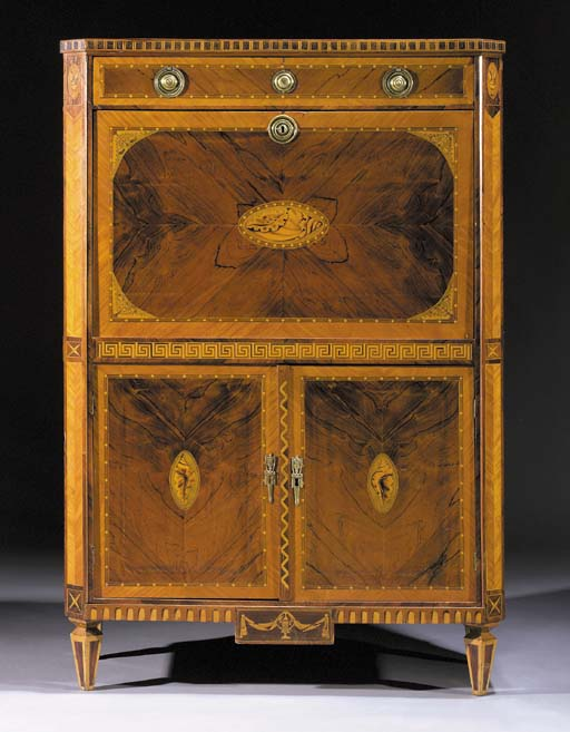 A Dutch rosewood, satinwood and marquetry secretaire a abattant
