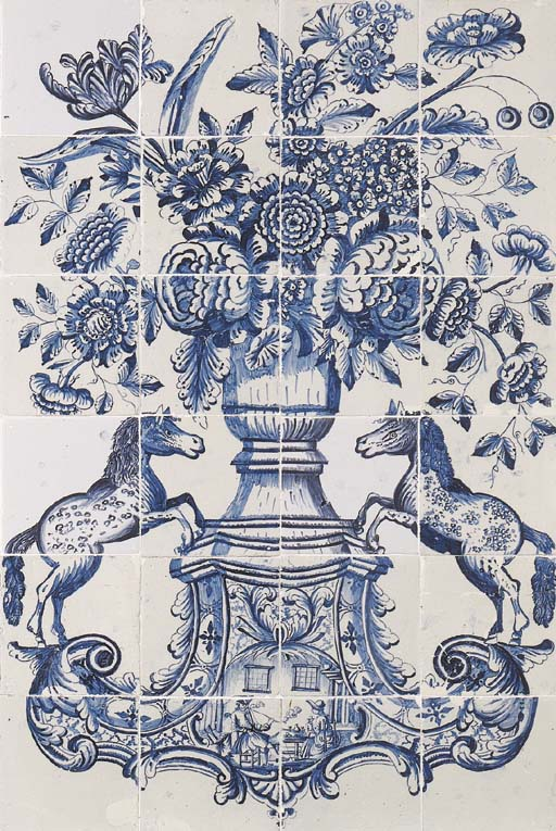 A Makkum Frisian floral blue and white tile picture