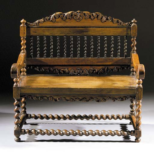 A Dutch colonial hardwood and ebonised bench