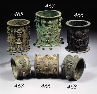 THREE YORUBA BRASS ARMLETS