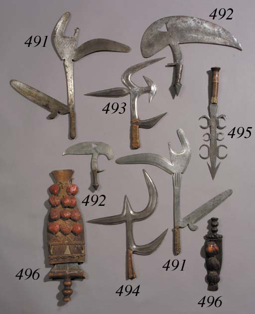 TWO BAULE KNIVES AND SHEATHS