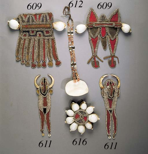 TWO NEW GUINEA SHELL ORNAMENTS