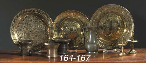 Two brass alms dishes and two