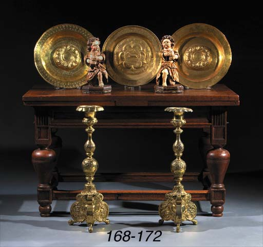 Two brass alms-dishes
