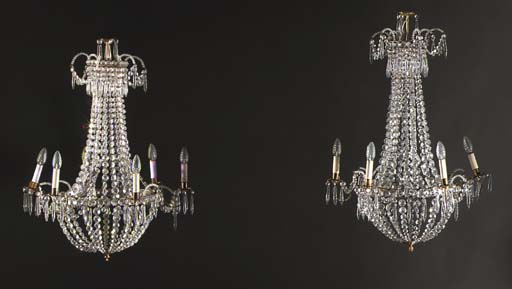 A pair of cut-glass and brass