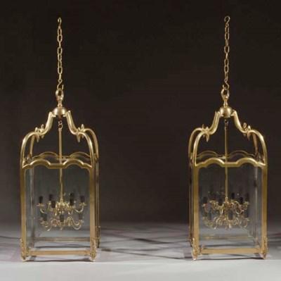 A pair of brass hall-lanterns