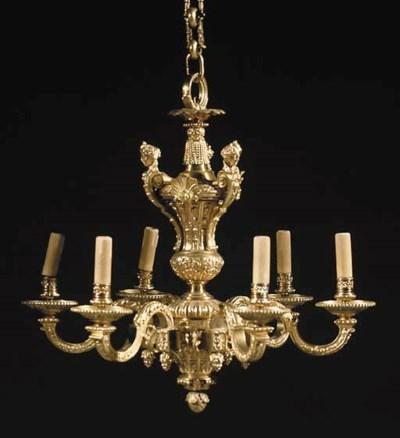 An ormolu six-light chandelier