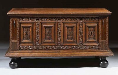 A Dutch oak and ebony chest