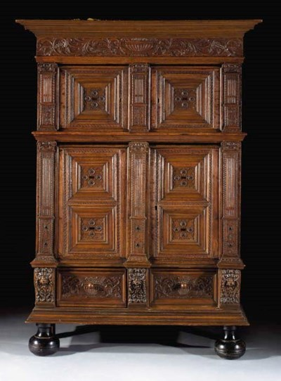A Dutch oak and ebony cabinet