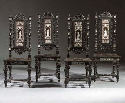 A set of four Italian ebonised
