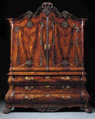 A Dutch mahogany cabinet