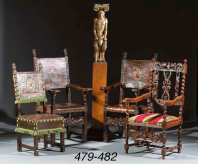 A walnut armchair