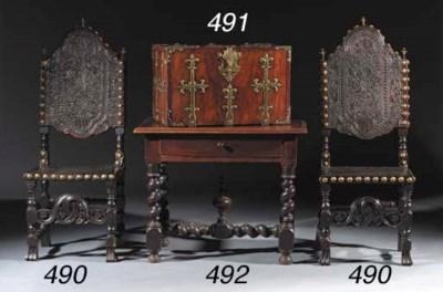 A brass-mounted walnut chest