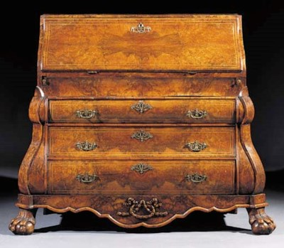 A Dutch burr walnut bureau