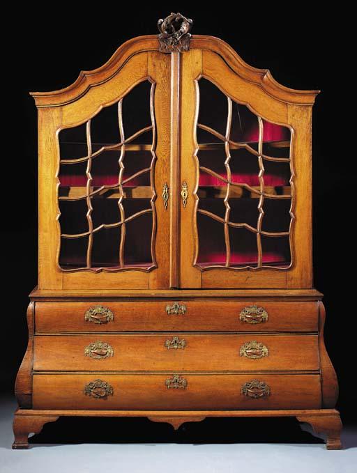 A German oak display-cabinet