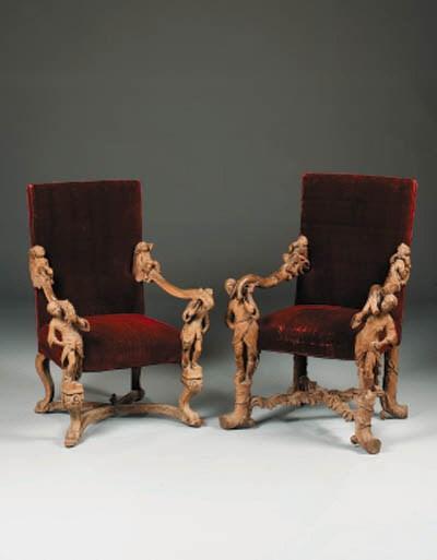 A near pair of Italian carved