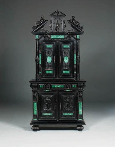 A Napoleon III malachite-inset