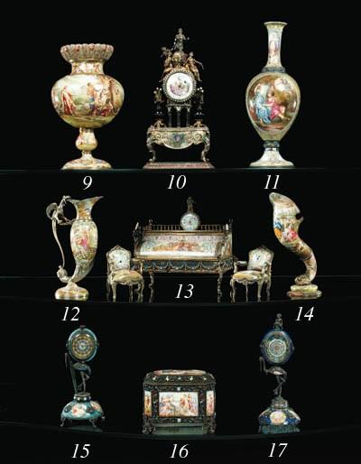 A Viennese silver, enamel, gem