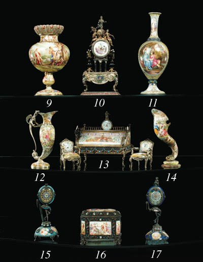 A Viennese silver and enamel v