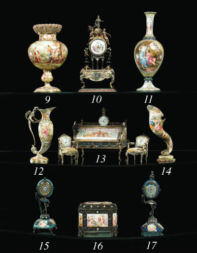 A Viennese silver and enamel e