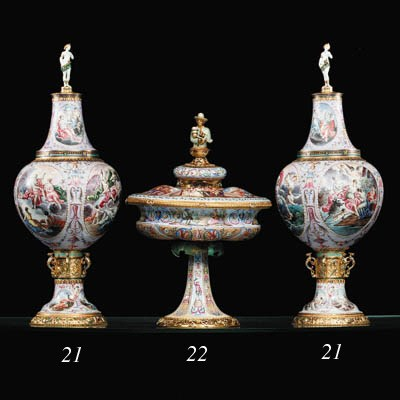 A pair of Viennese silver-gilt