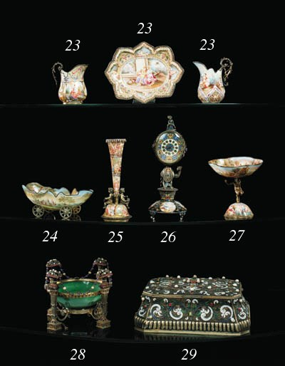A Viennese silver, enamel, pea