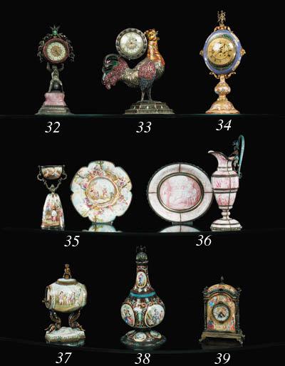 A Viennese silver, enamel, ros
