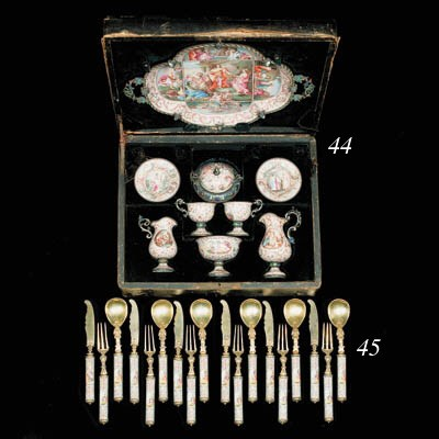 A cased Viennese silver and en