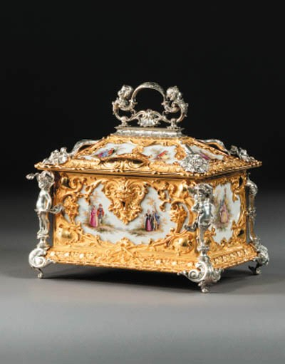 A French ormolu, silvered and