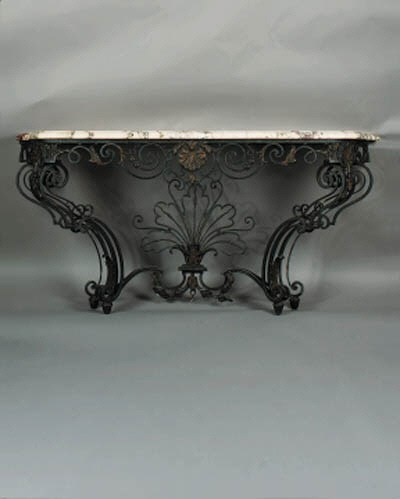 A French black-painted wrought