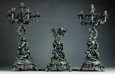 A French silvered-bronze table