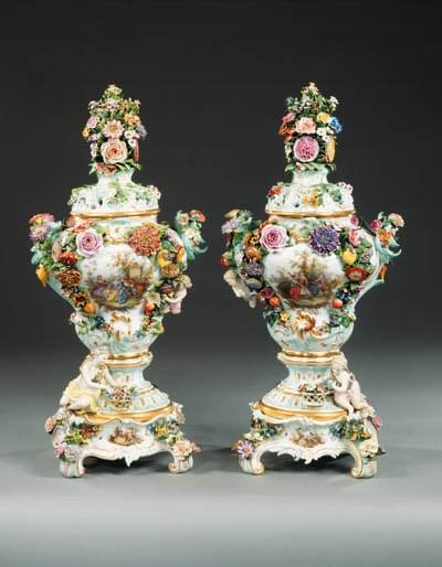 A pair of Meissen porcelain va