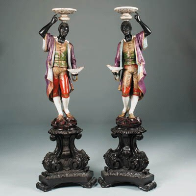 A pair of Genoese parcel-gilt