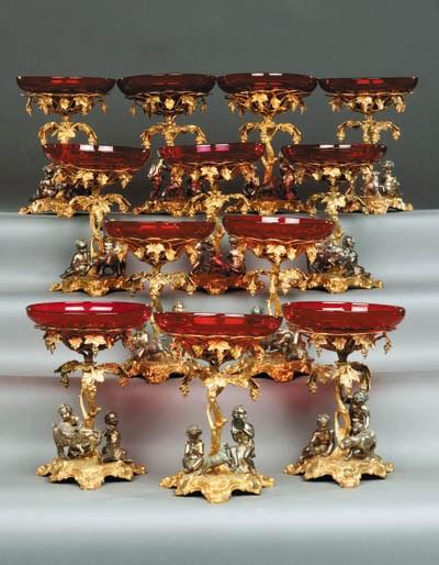 A set of six ruby glass, silve