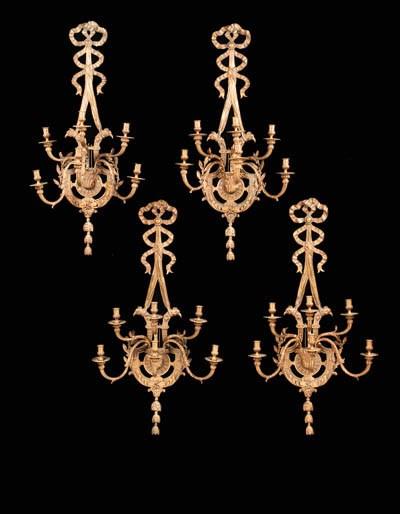 A set of four French gilt-bron