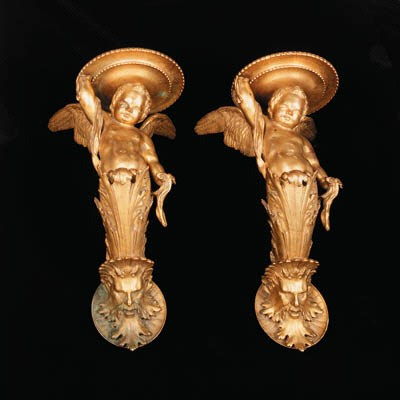 A pair of French gilt-bronze w
