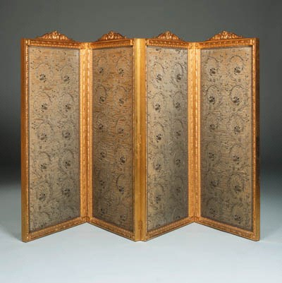 A French giltwood and silk fou