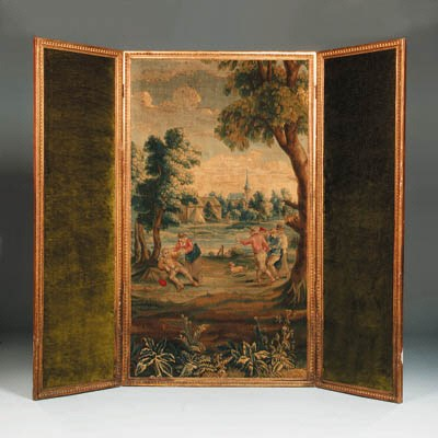 A French giltwood tapestry scr