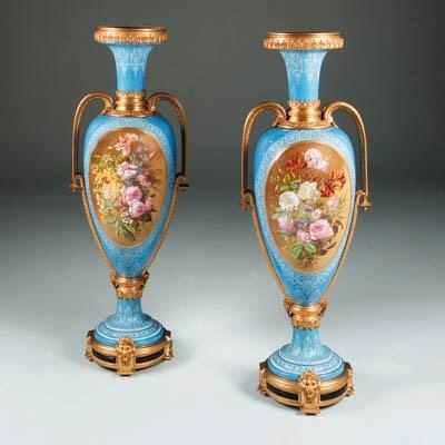 A pair of ormolu-mounted opaqu