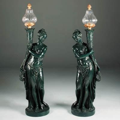 A pair of Napoleon III green-p