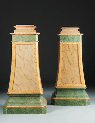 A pair of parcel-gilt faux-mar